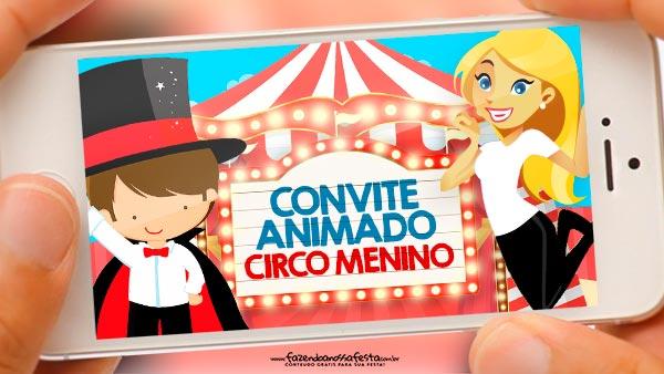 Convite Animado Circo Menino Cute