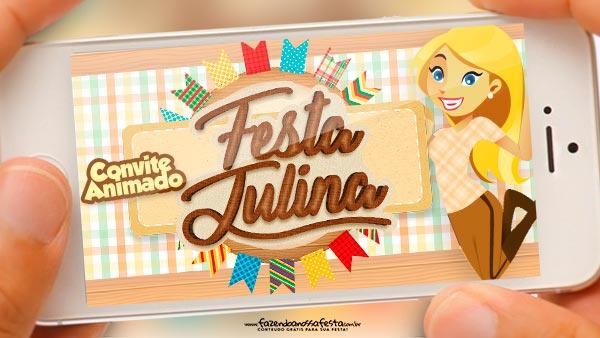 Convite animado Festa Julina Xadrez