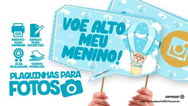 Plaquinhas Festa Ursinho Baloeiro