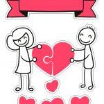 Topo de Bolo Dia dos Namorados para Imprimir 4