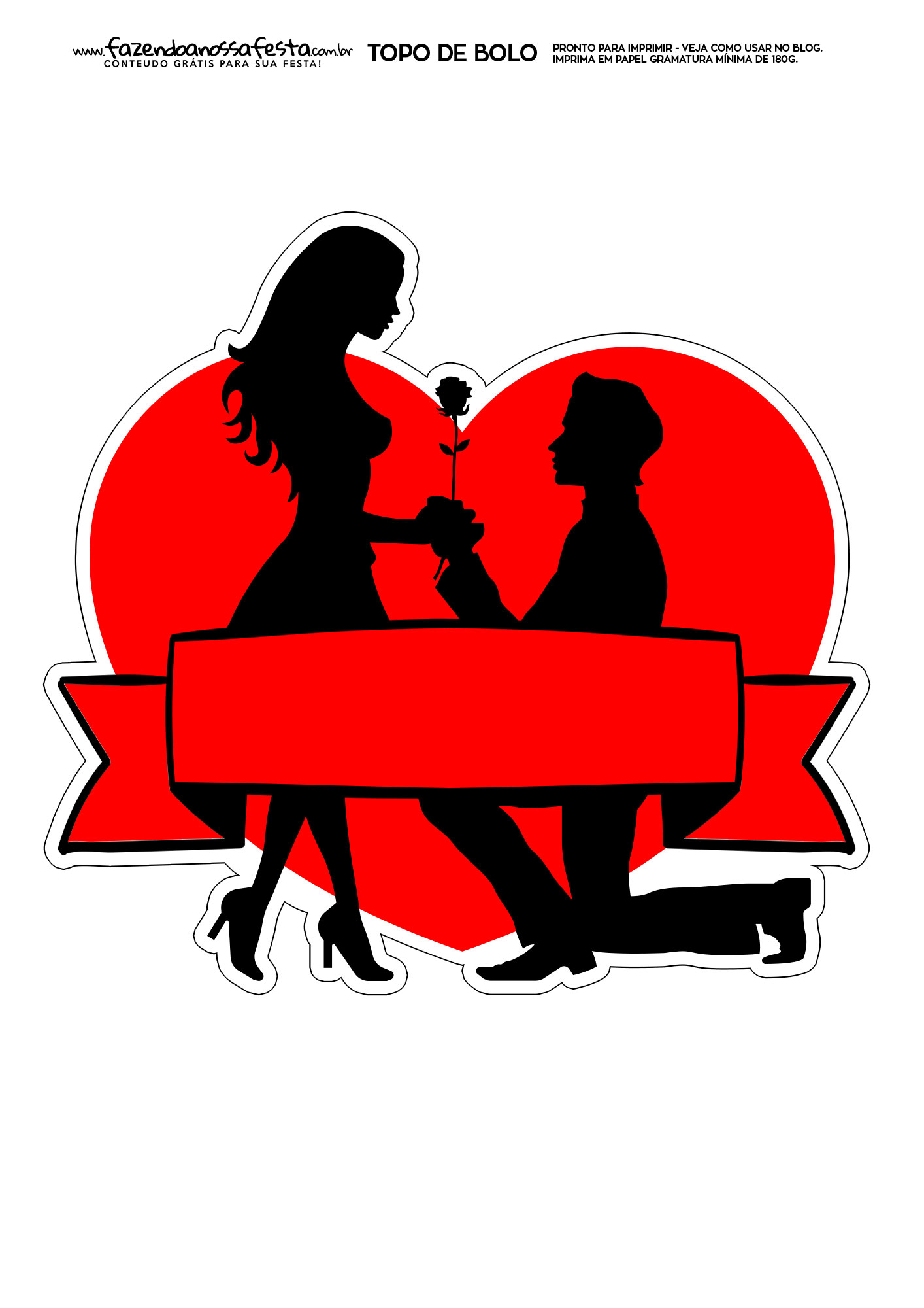 Topo de Bolo Dia dos Namorados para Imprimir 8