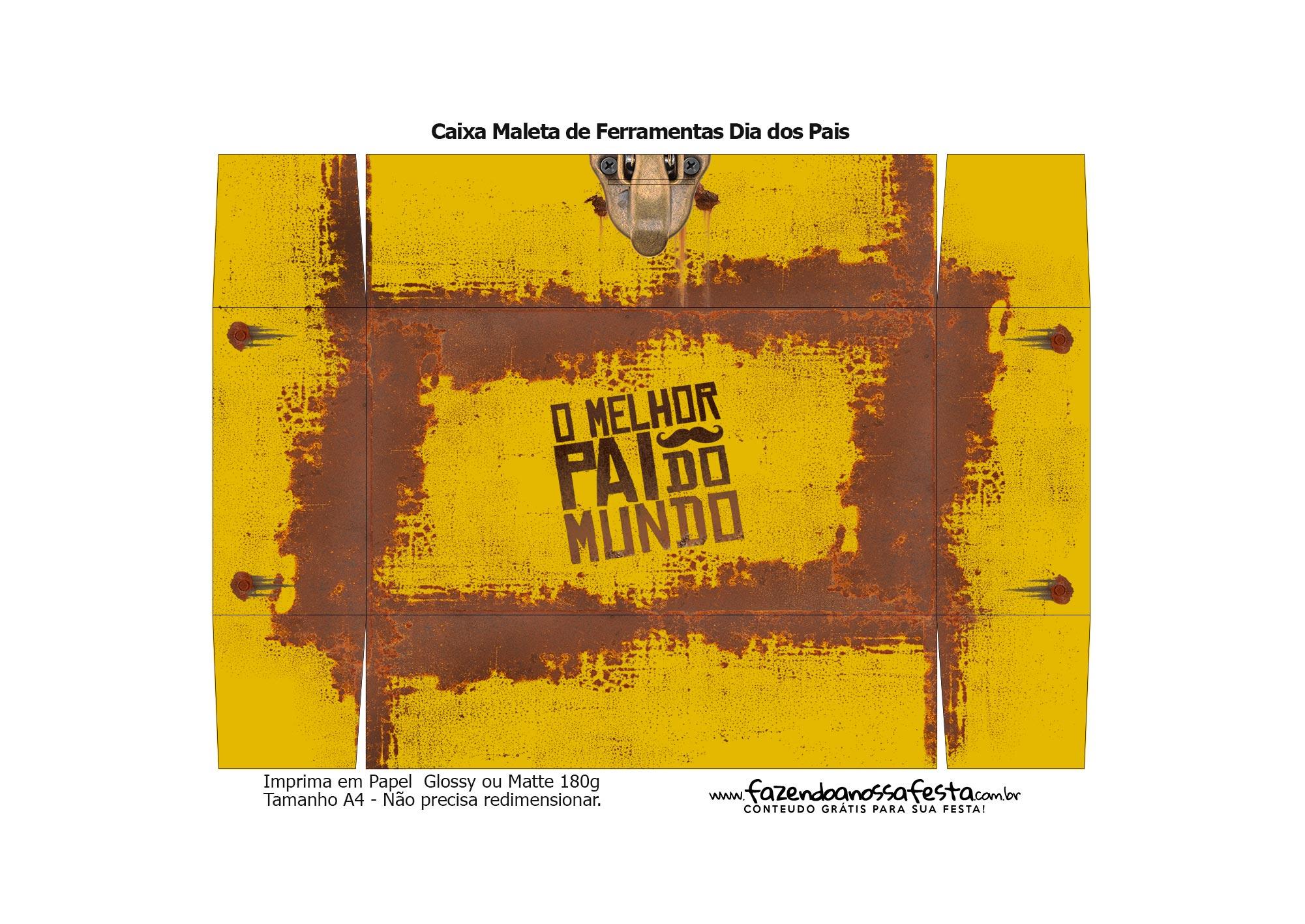 Molde Caixa Ferramentas Dia dos Pais Amarela 2