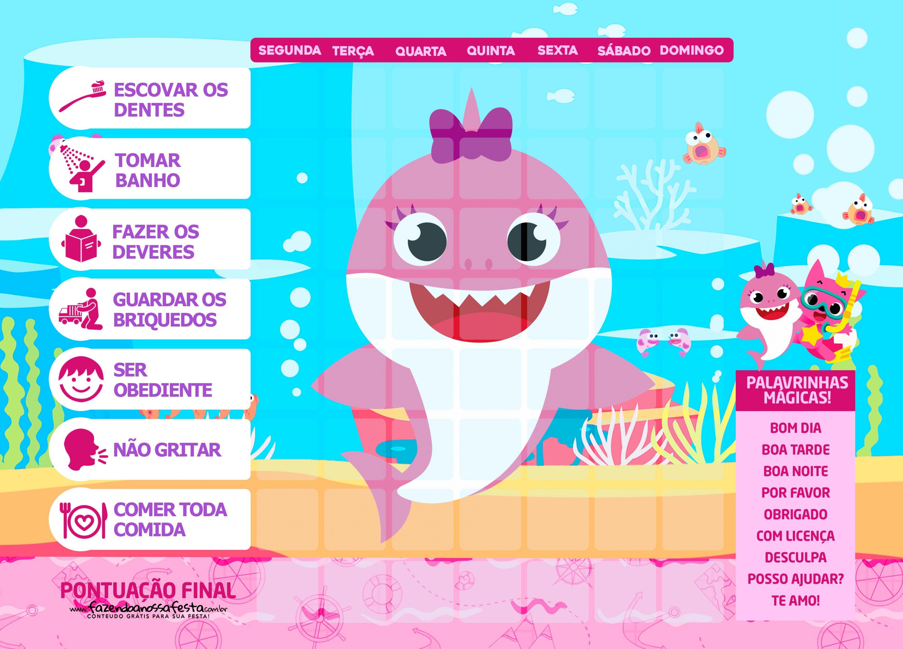 Quadro do Incentivo Baby Shark Rosa