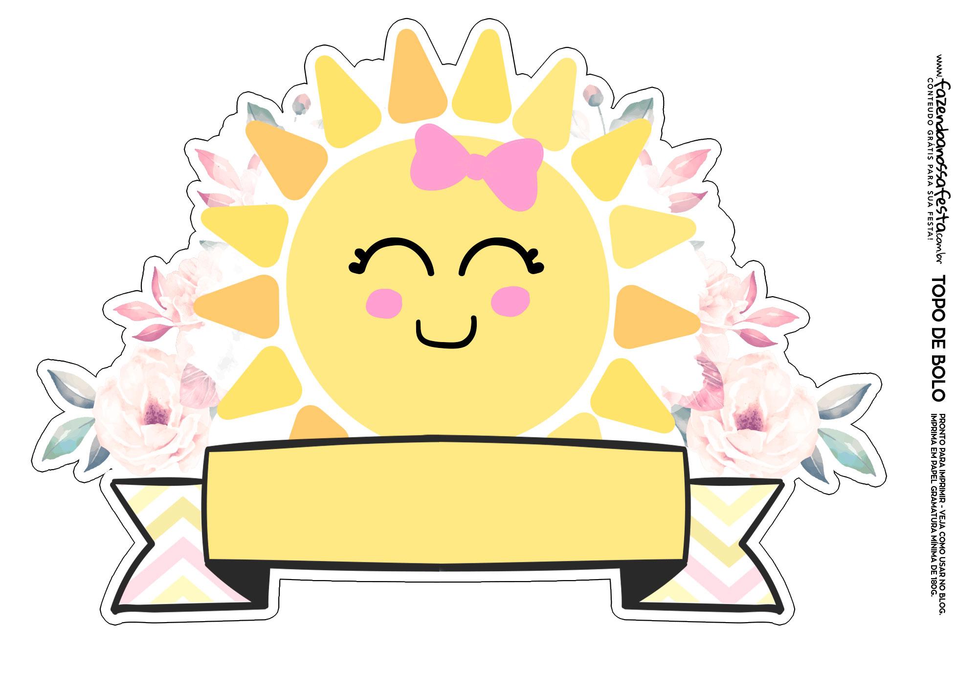 Topo de bolo Sunshine molde