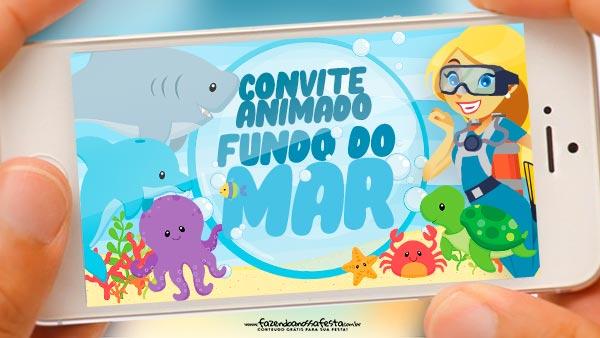 Convite Animado Fundo do Mar Gratis