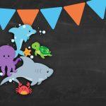 Convite Chalkboard Fundo do Mar