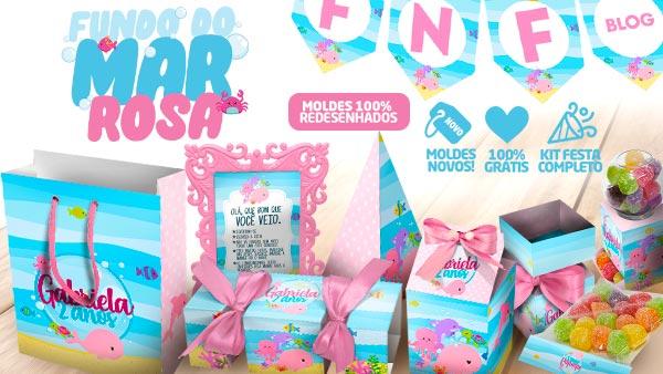 Kit Festa Fundo do Mar Rosa gratis
