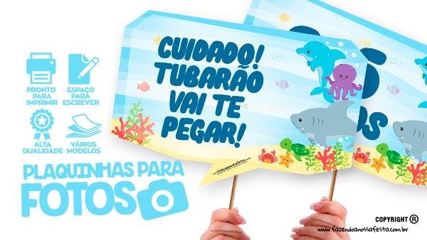Plaquinhas Festa Fundo do Mar
