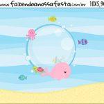 Rotulo Squeezer Kit Festa Fundo do Mar Rosa