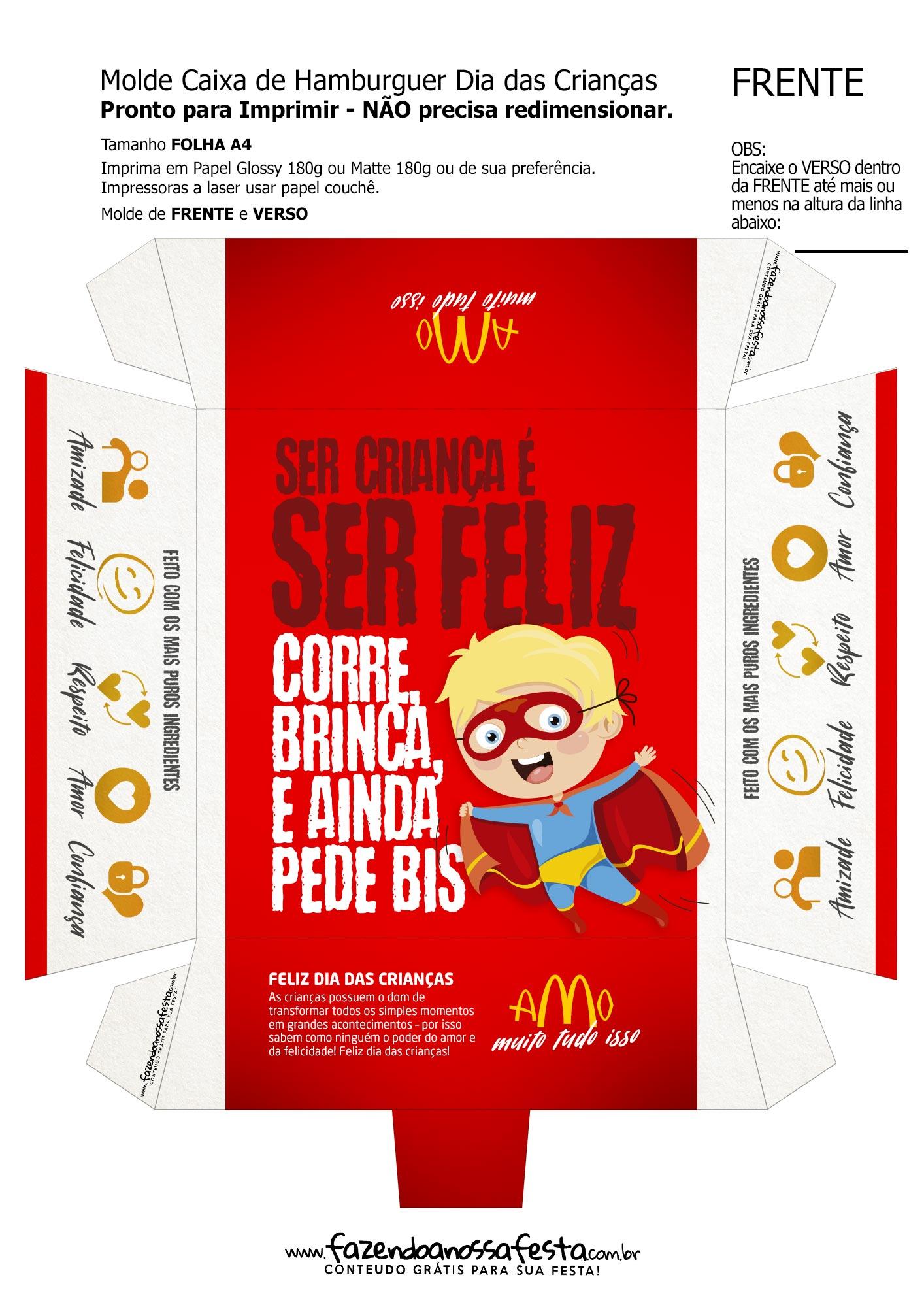 Caixa hamburguer molde super heroi