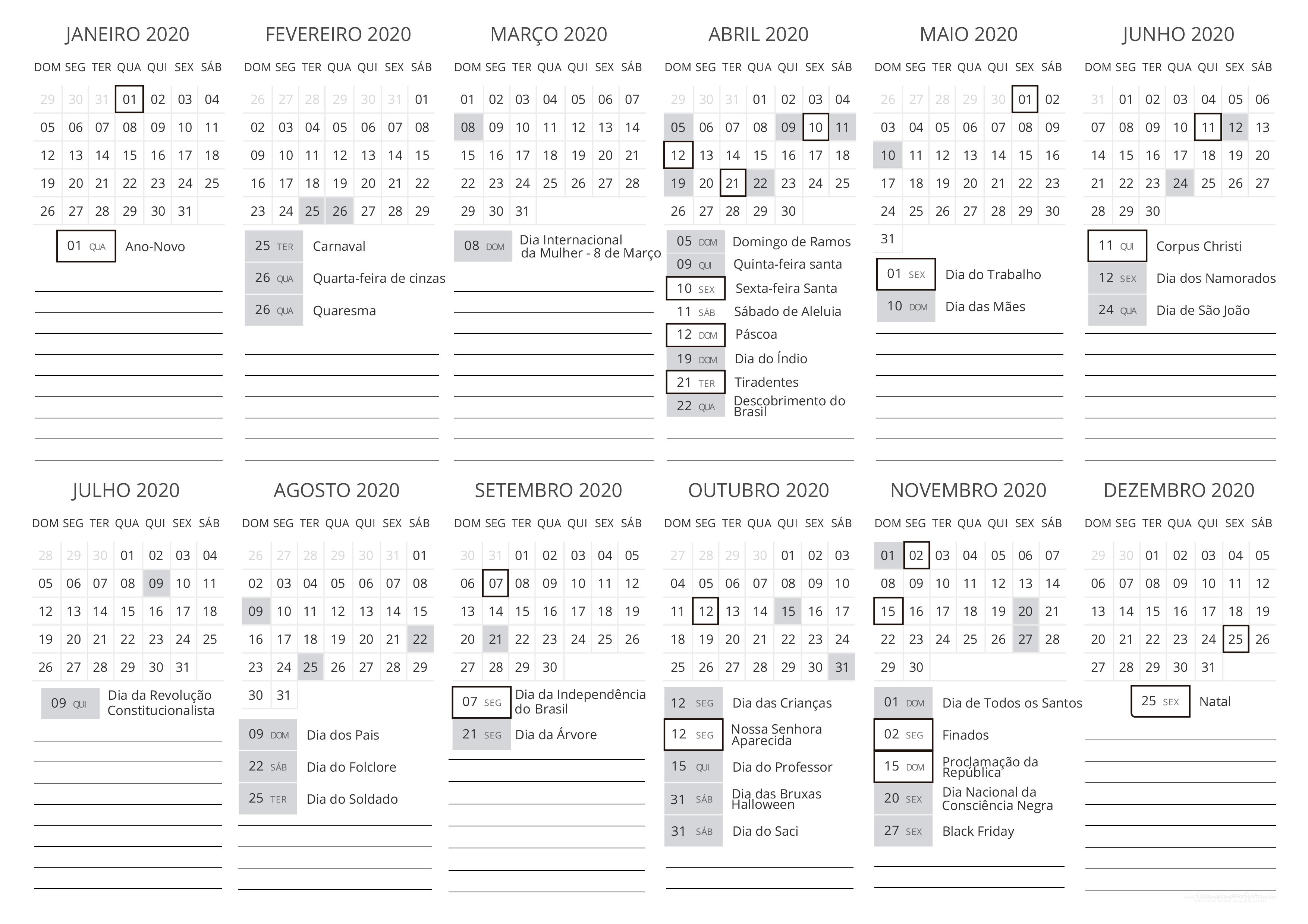 Calendario 2020 Com Feriados Para Impressao.Calendario 2020 Fazendo A Nossa Festa