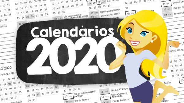Calendario 2020 Com Feriados Para Impressao.Calendario 2020 Para Imprimir Gratis