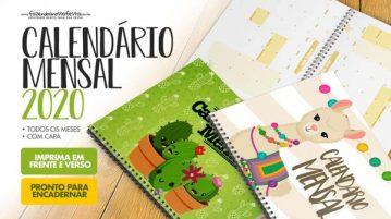 Calendario Mensal 2020 para planner