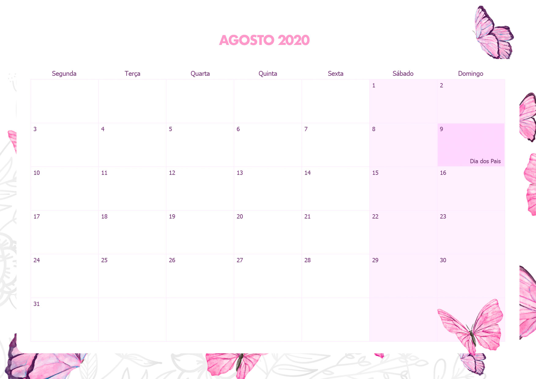 Calendario Mensal Borboletas Agosto 2020