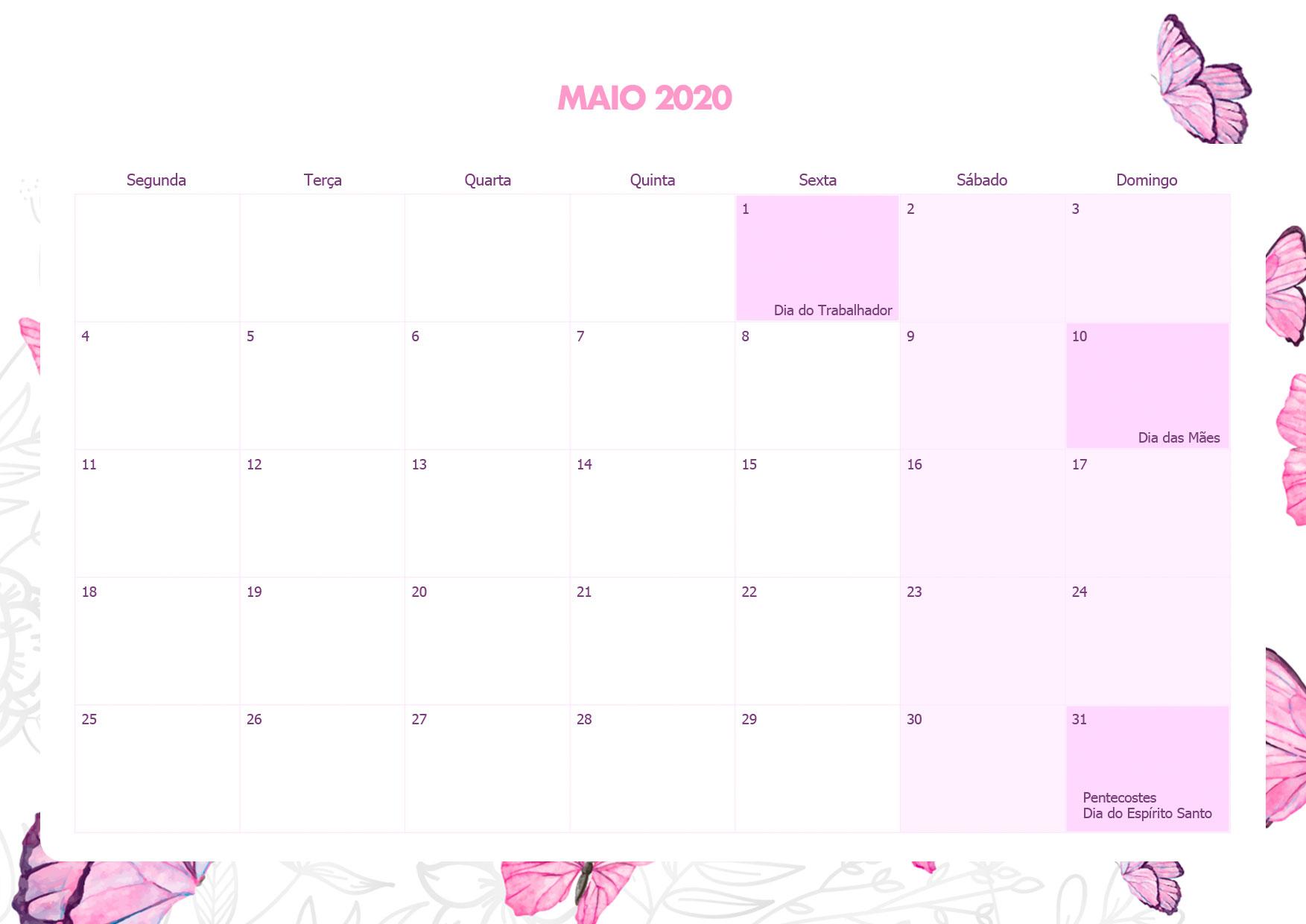 Calendario Mensal Borboletas Maio 2020