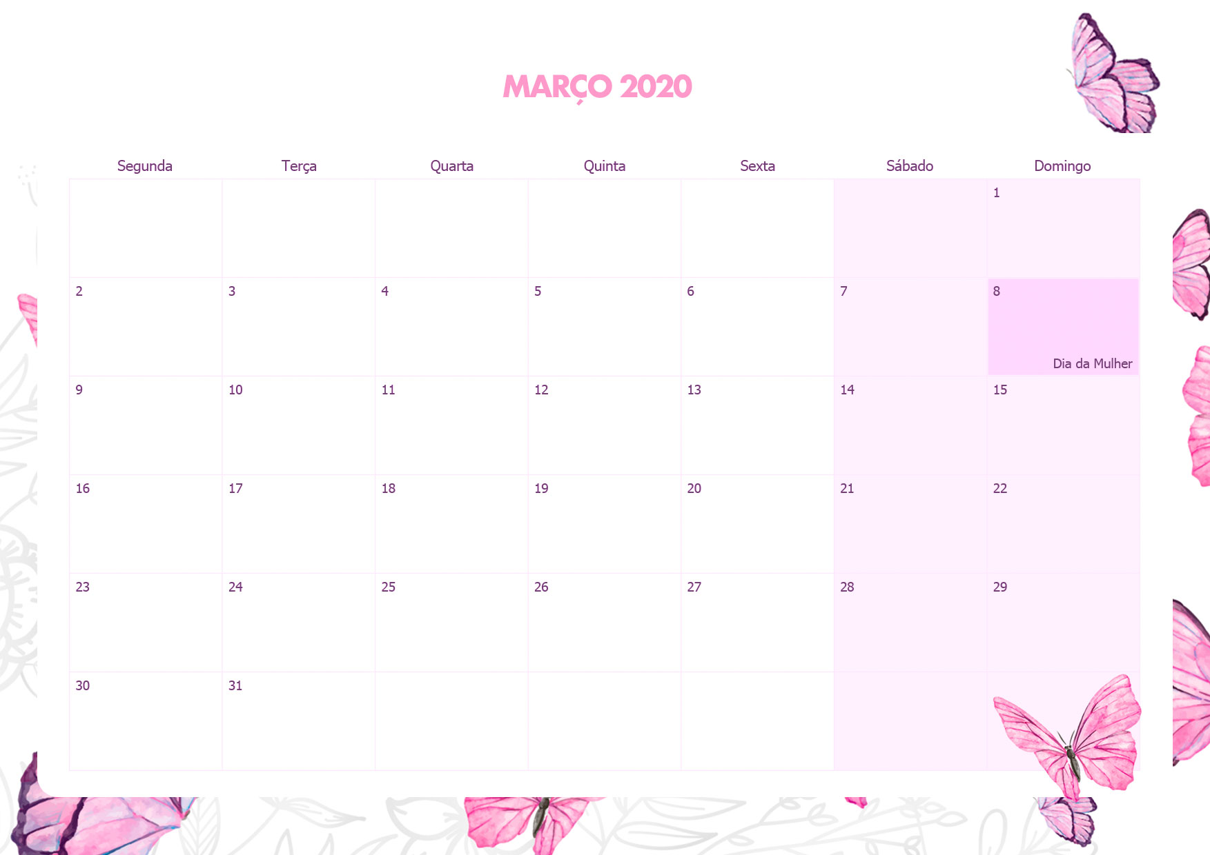 Calendario Mensal Borboletas Marco 2020