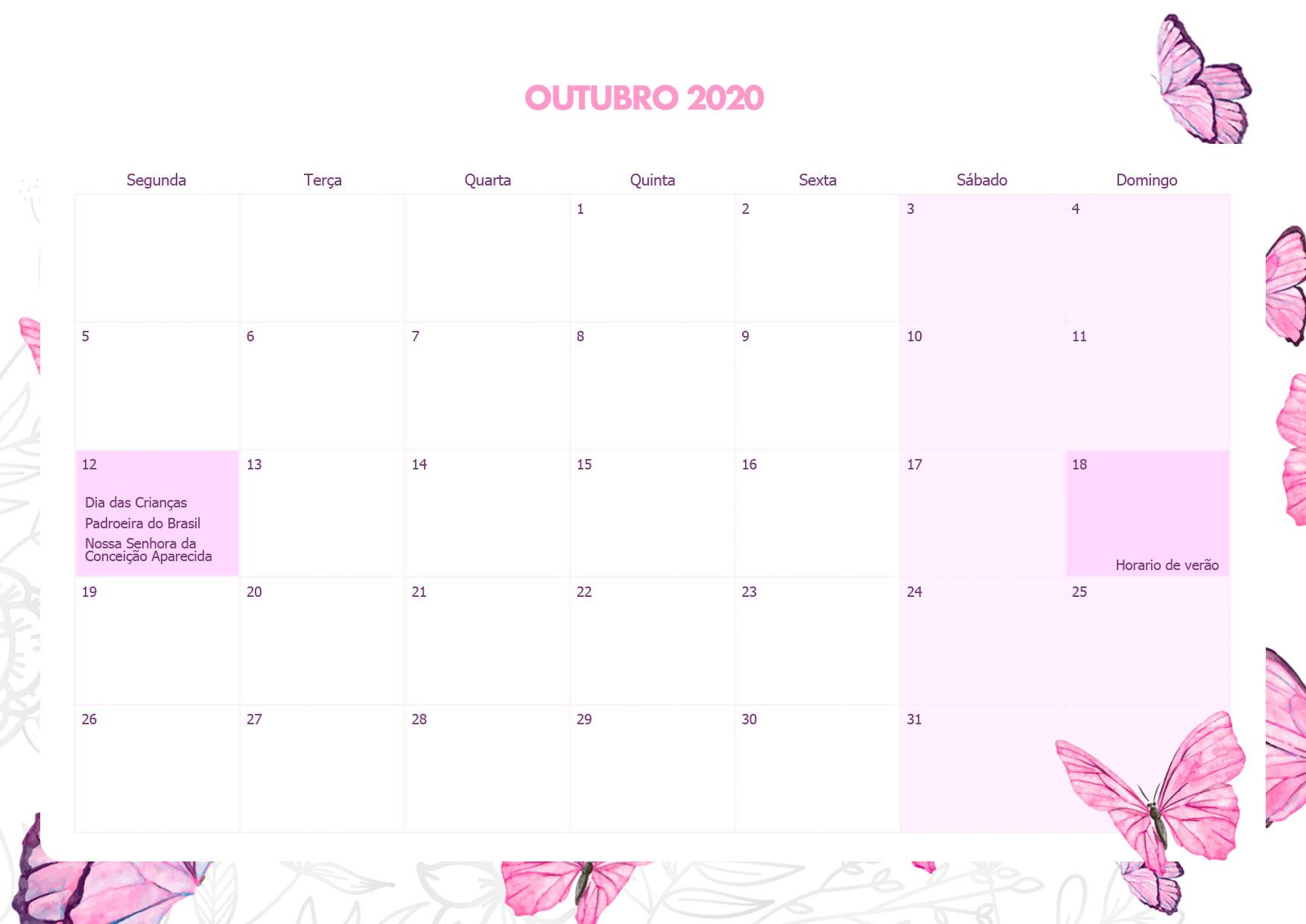 Calendario Mensal Borboletas Outubro 2020