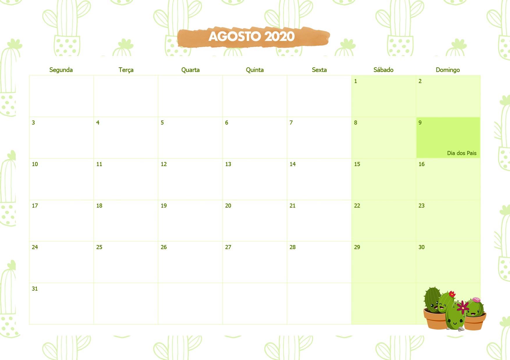 Calendario Mensal Cactos Agosto 2020