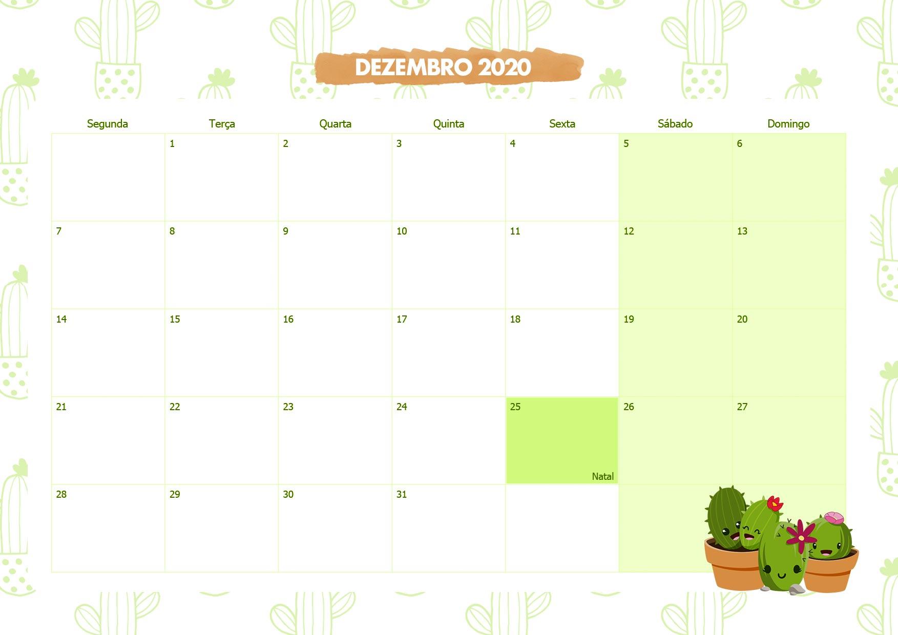 Calendario Mensal Cactos Dezembro 2020