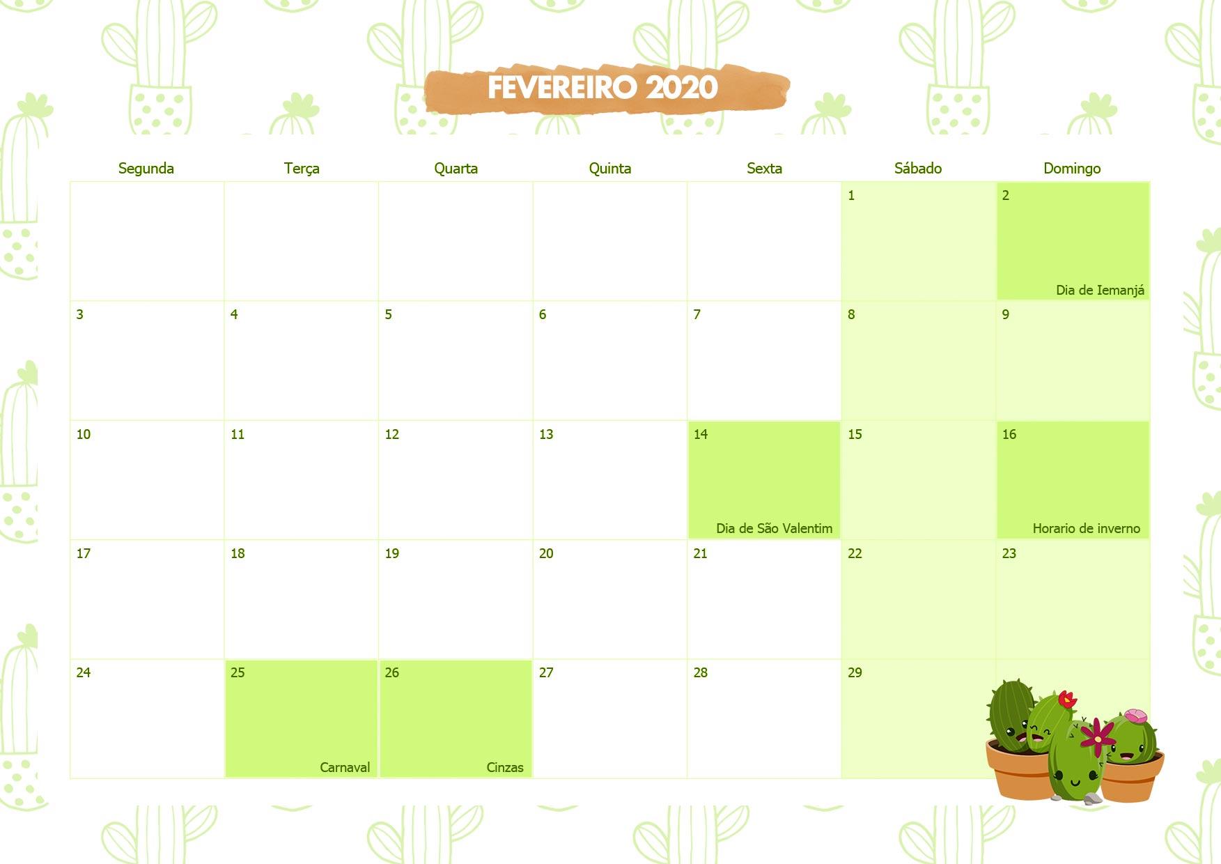 Calendario Mensal Cactos Fevereiro 2020