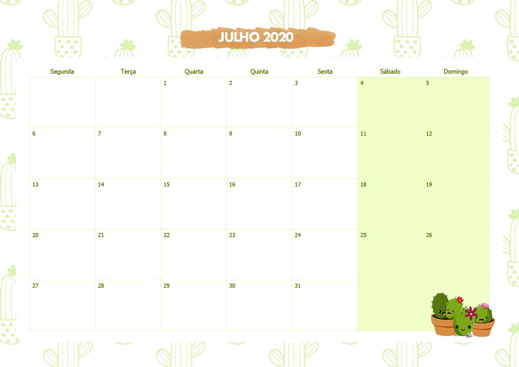 Calendario Mensal Cactos Julho 2020