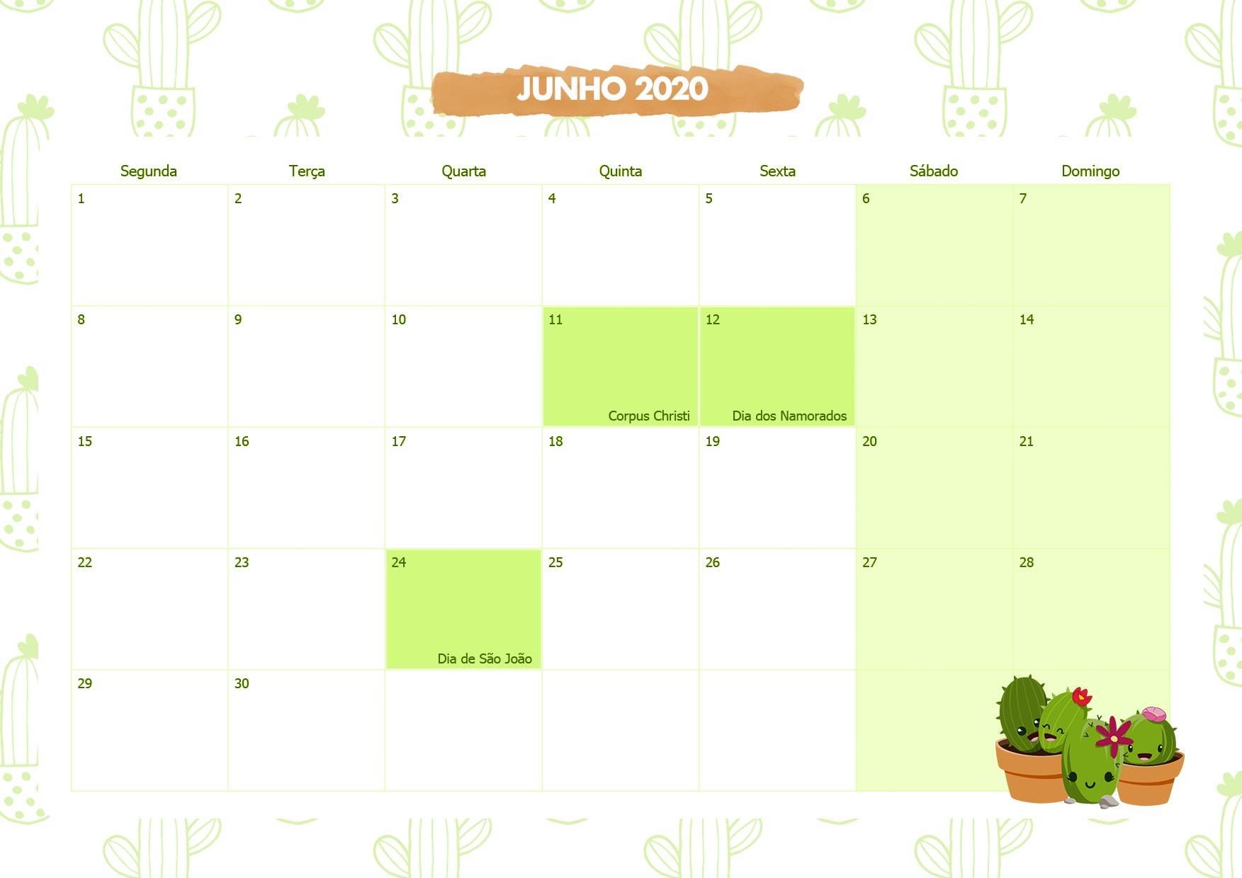 Calendario Mensal Cactos Junho 2020