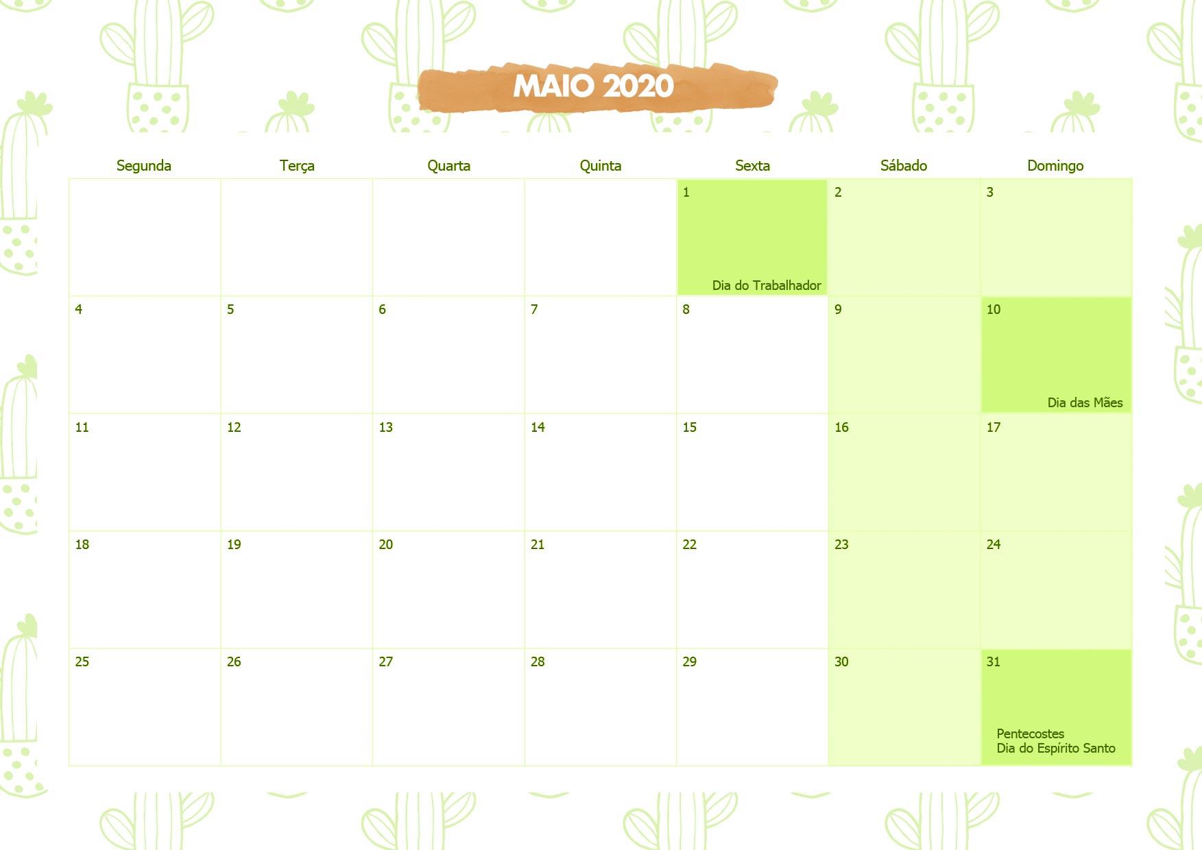 Calendario Mensal Cactos Maio 2020