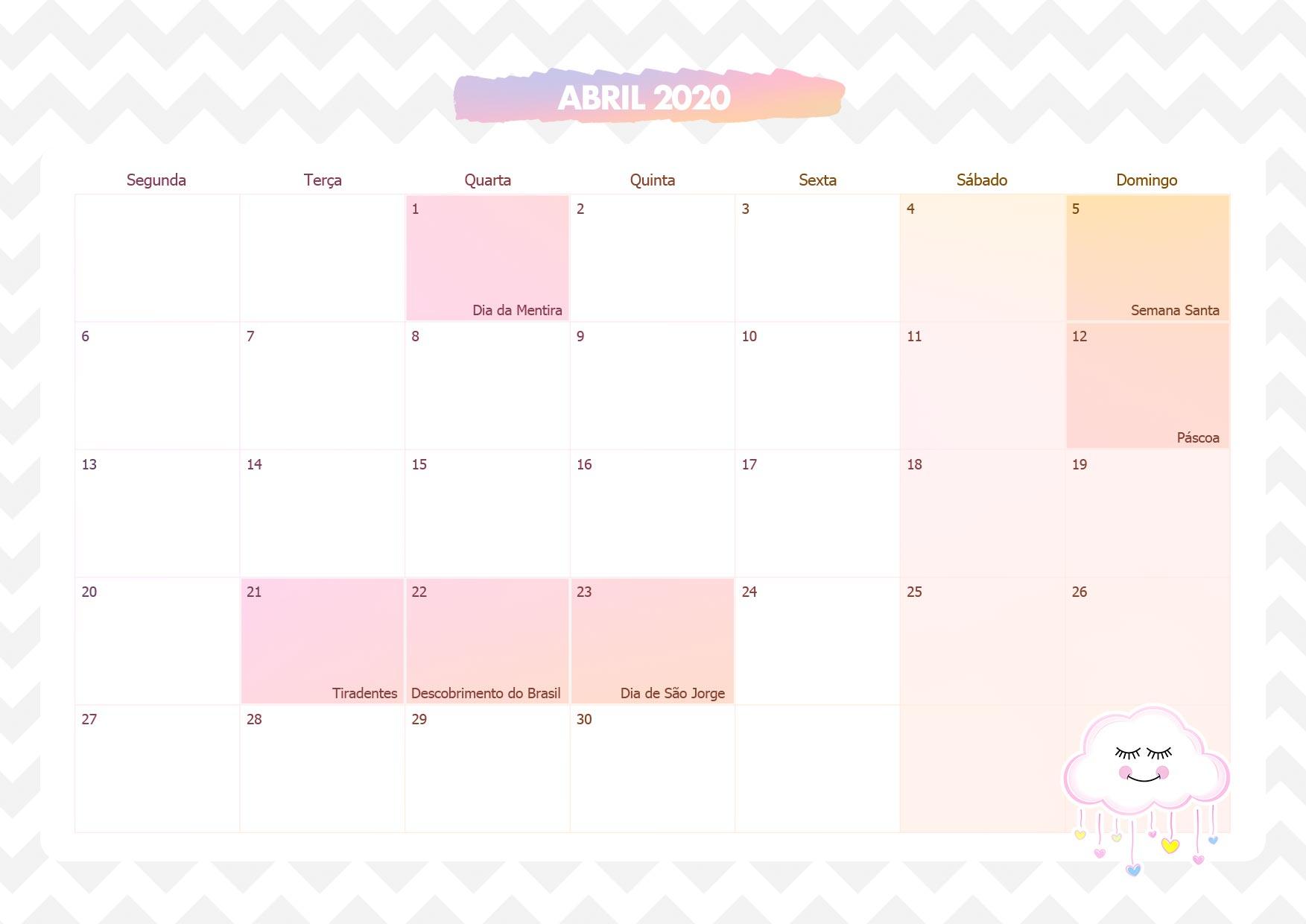Calendario Mensal Chuva de Amor Abril 2020