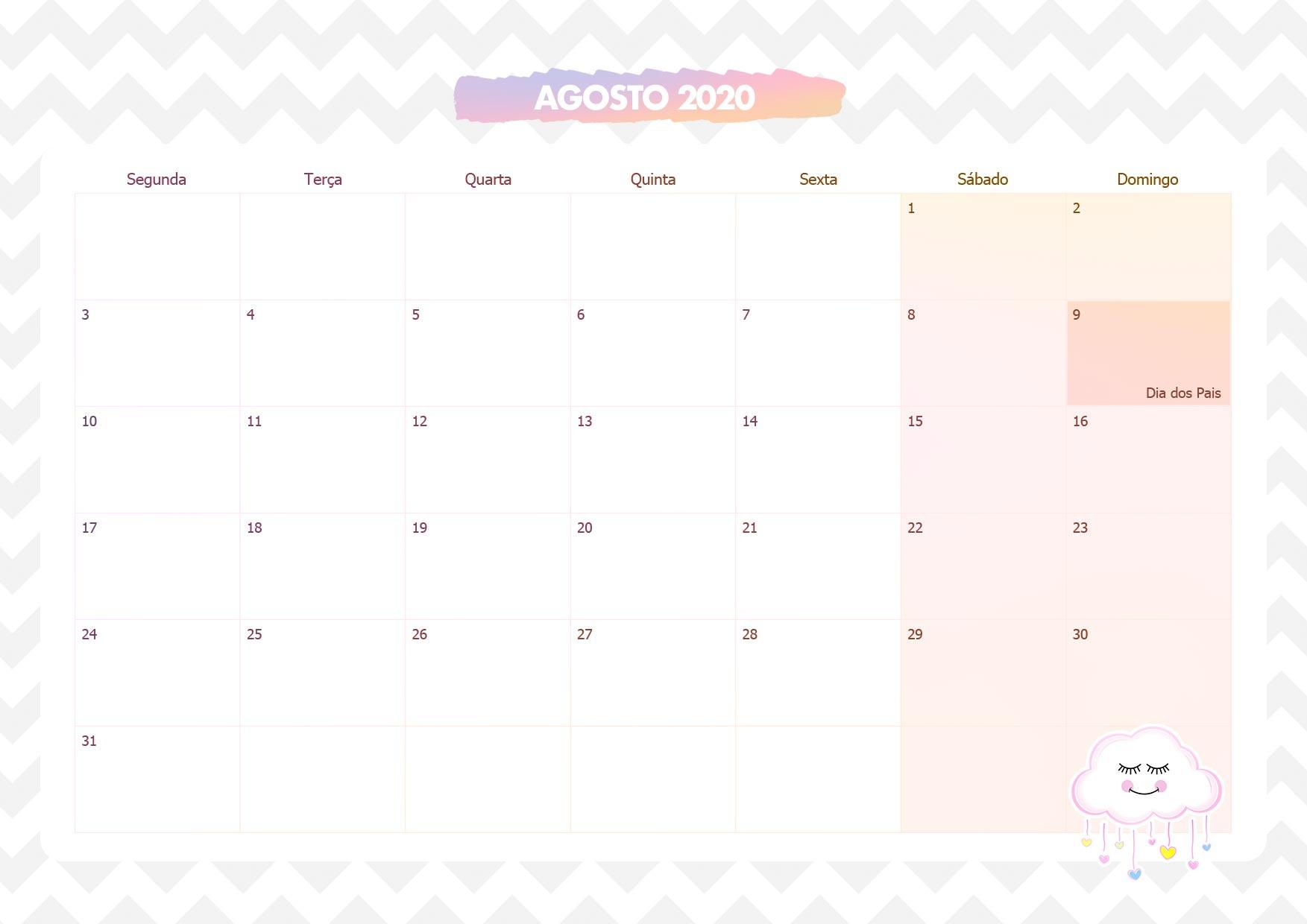 Agosto 2020 Calendario.Calendario Mensal Chuva De Amor Agosto 2020 Fazendo A