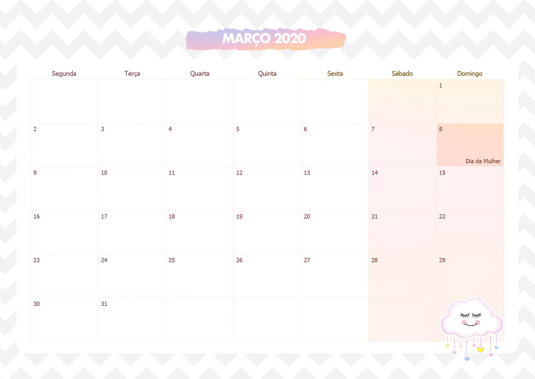 Calendario Mensal Chuva de Amor Marco 2020