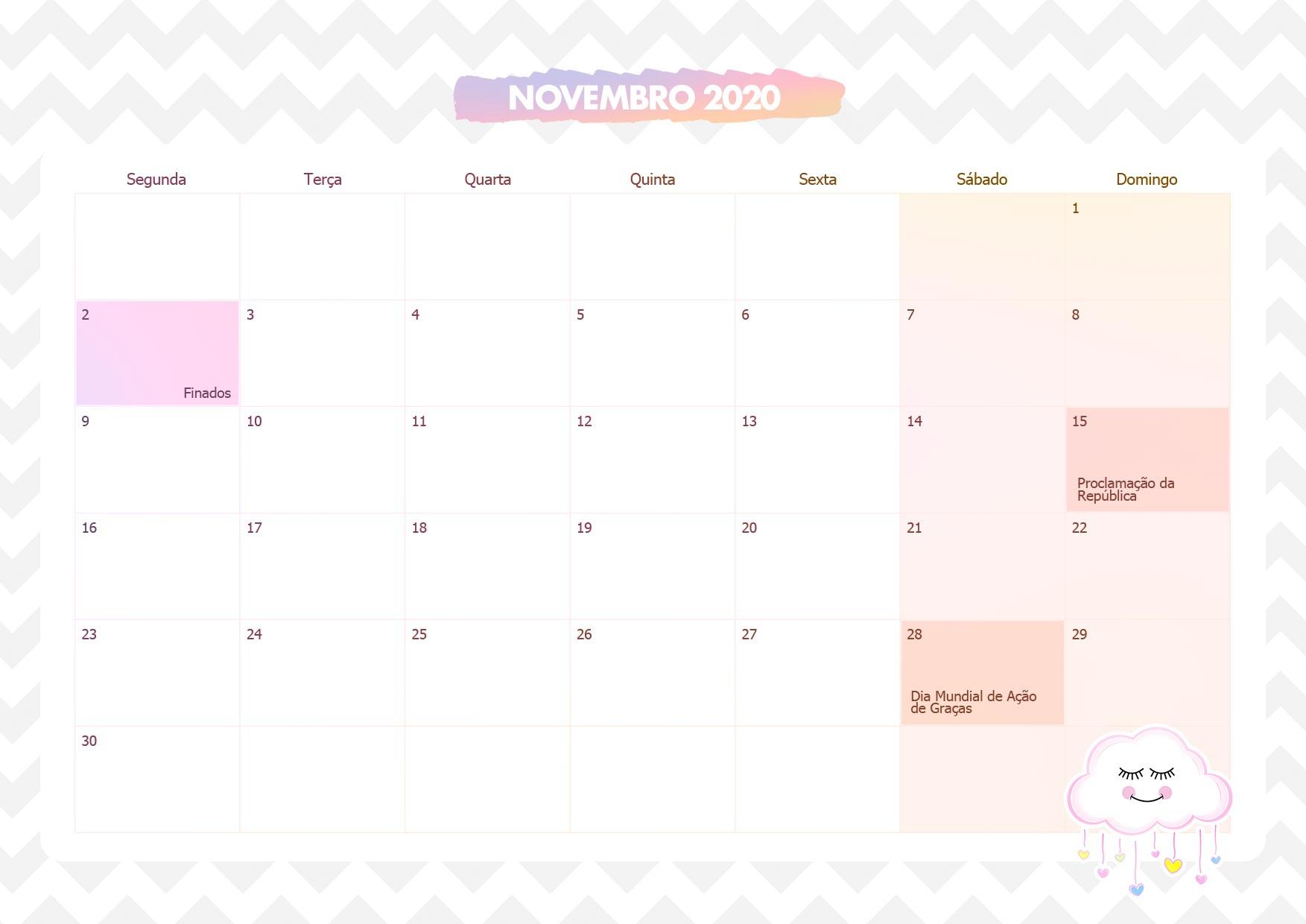 Calendario Mensal Chuva de Amor Novembro 2020