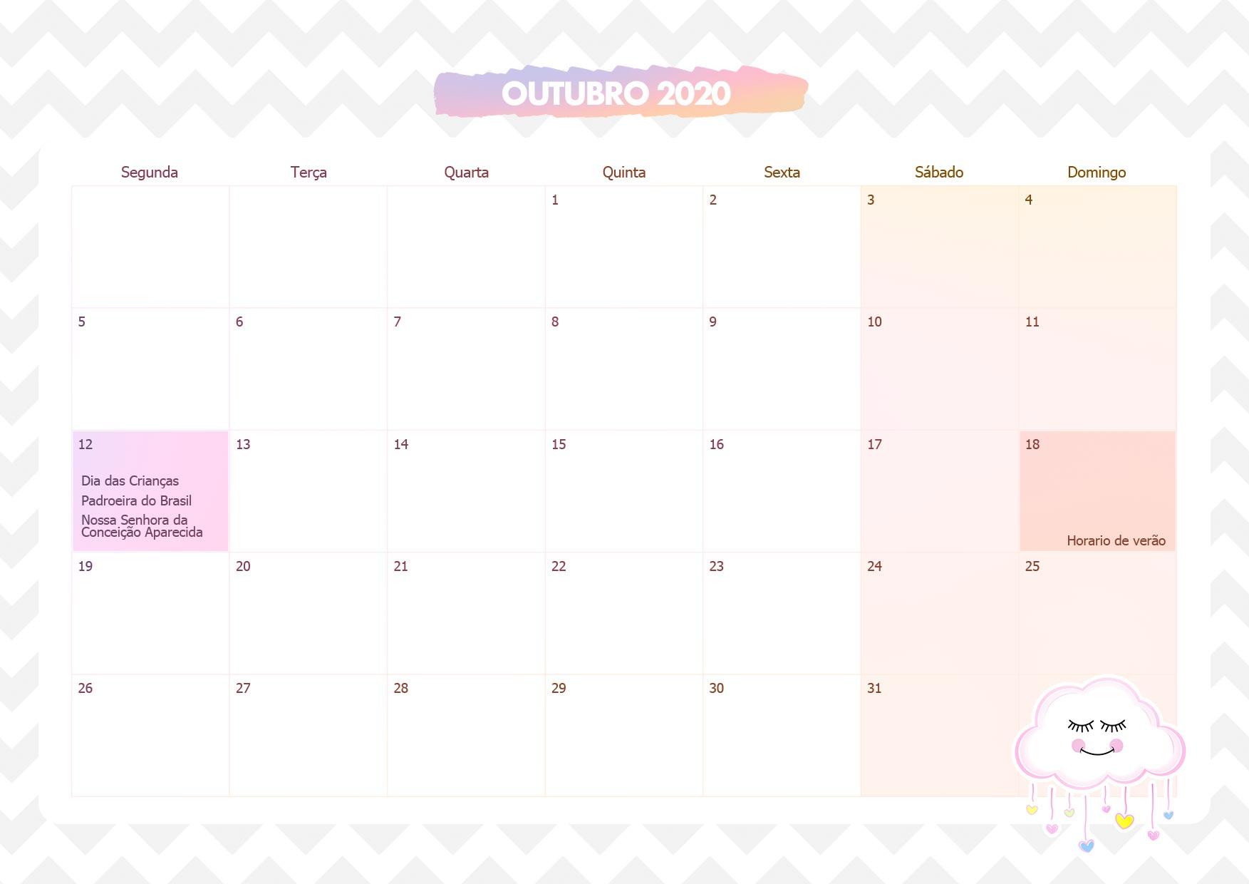 Calendario Mensal Chuva de Amor Outubro 2020
