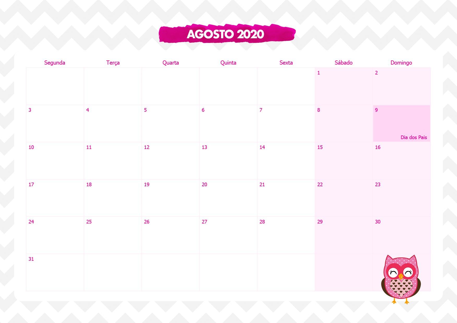 Calendario Mensal Corujinha Rosa Agosto 2020