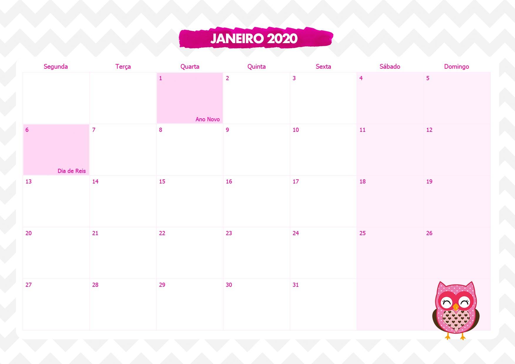 Calendario Mensal Corujinha Rosa Janeiro 2020