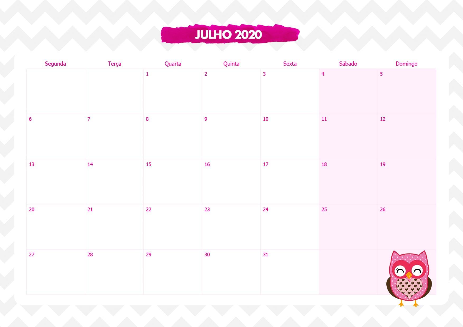 Calendario Mensal Corujinha Rosa Julho 2020
