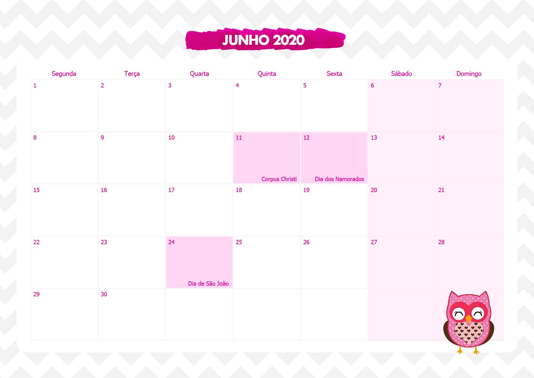 Calendario Mensal Corujinha Rosa Junho 2020