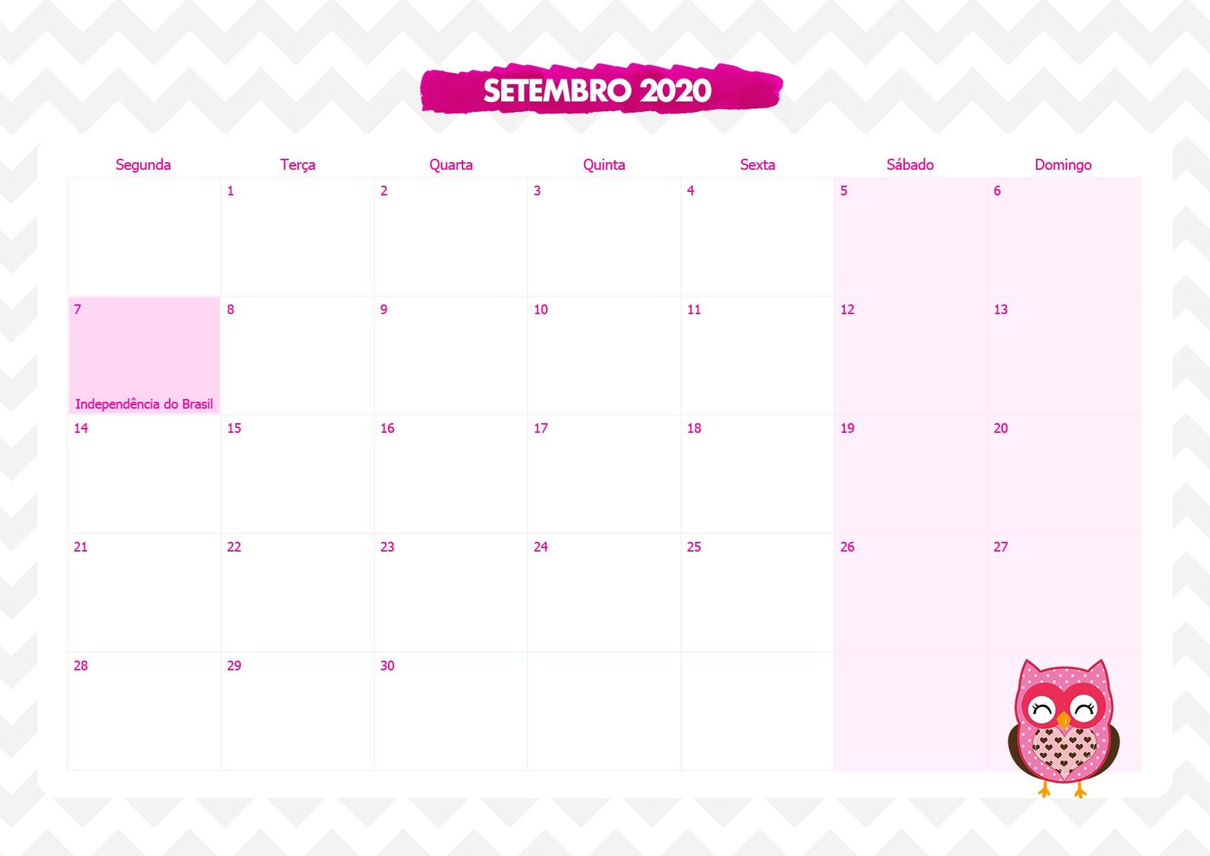 Calendario Mensal Corujinha Rosa Setembro 2020