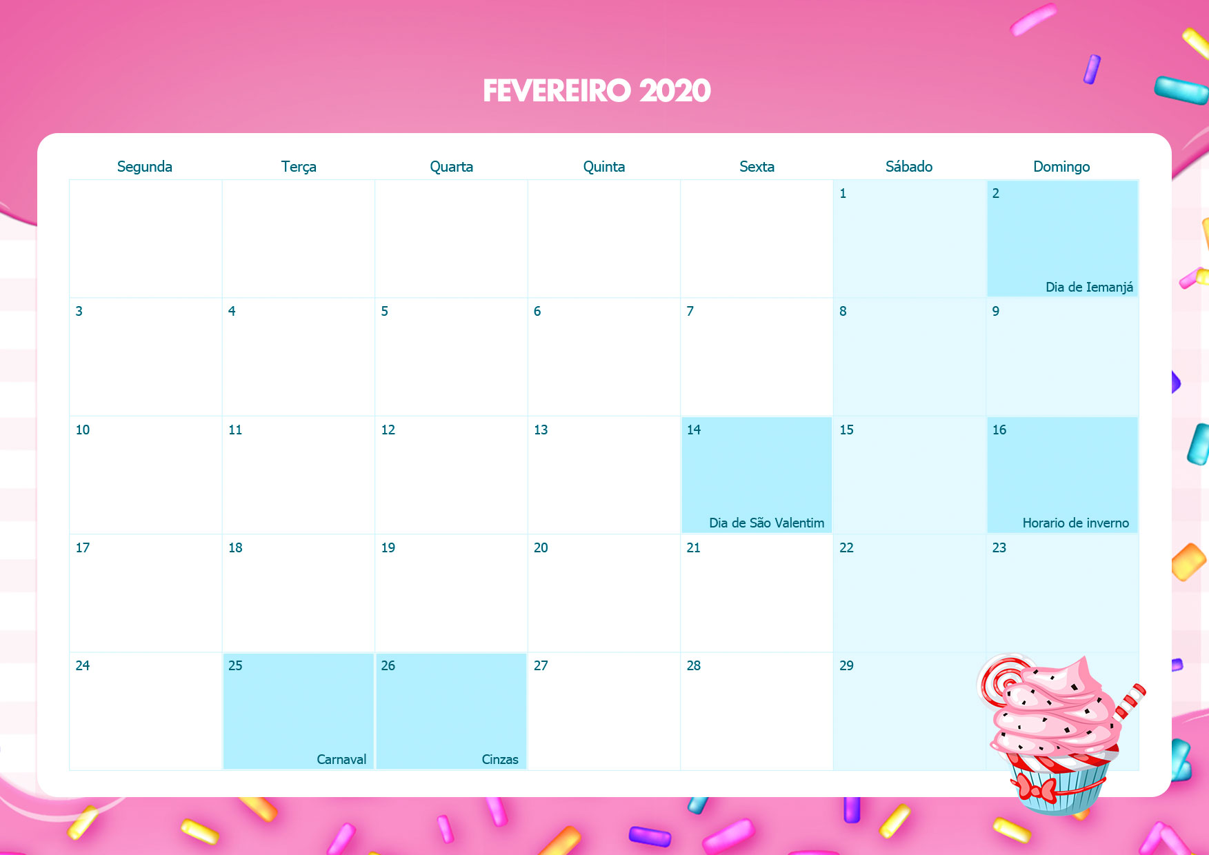 Calendario Mensal Cupcake Fevereiro 2020