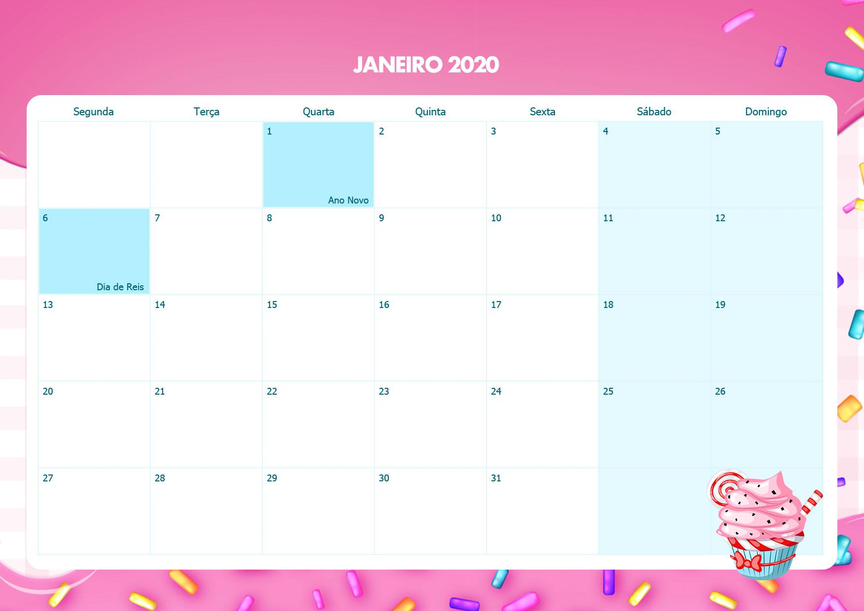Calendario Mensal Cupcake Janeiro 2020