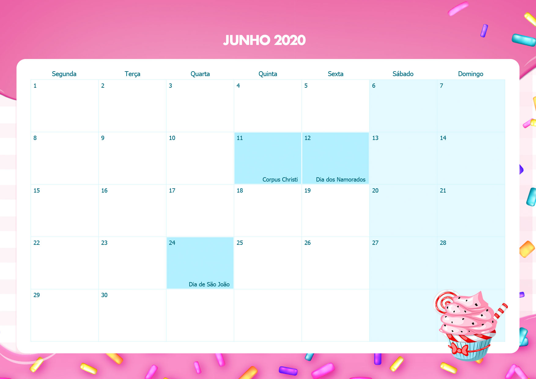 Calendario Mensal Cupcake Junho 2020