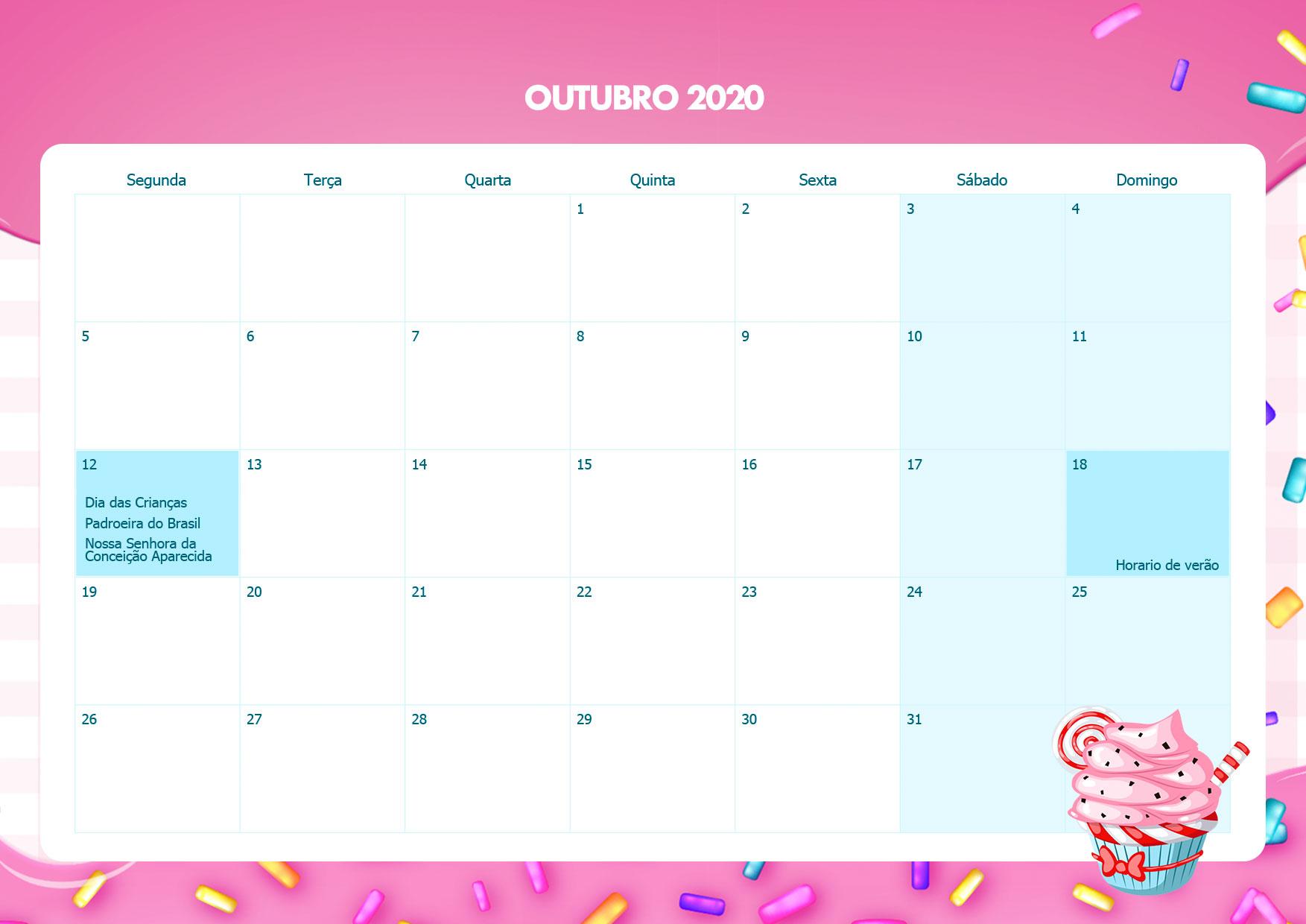 Calendario Mensal Cupcake Outubro 2020