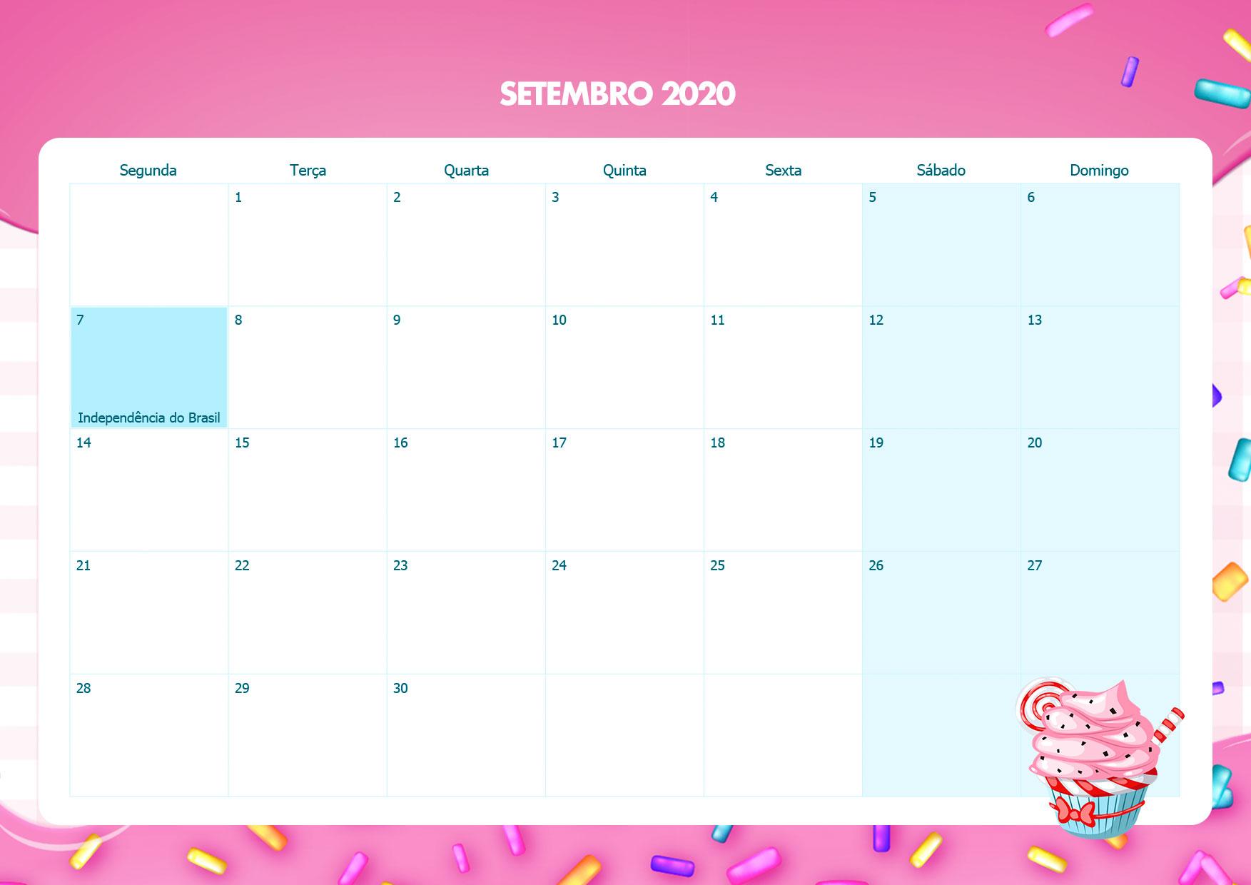 Calendario Mensal Cupcake Setembro 2020