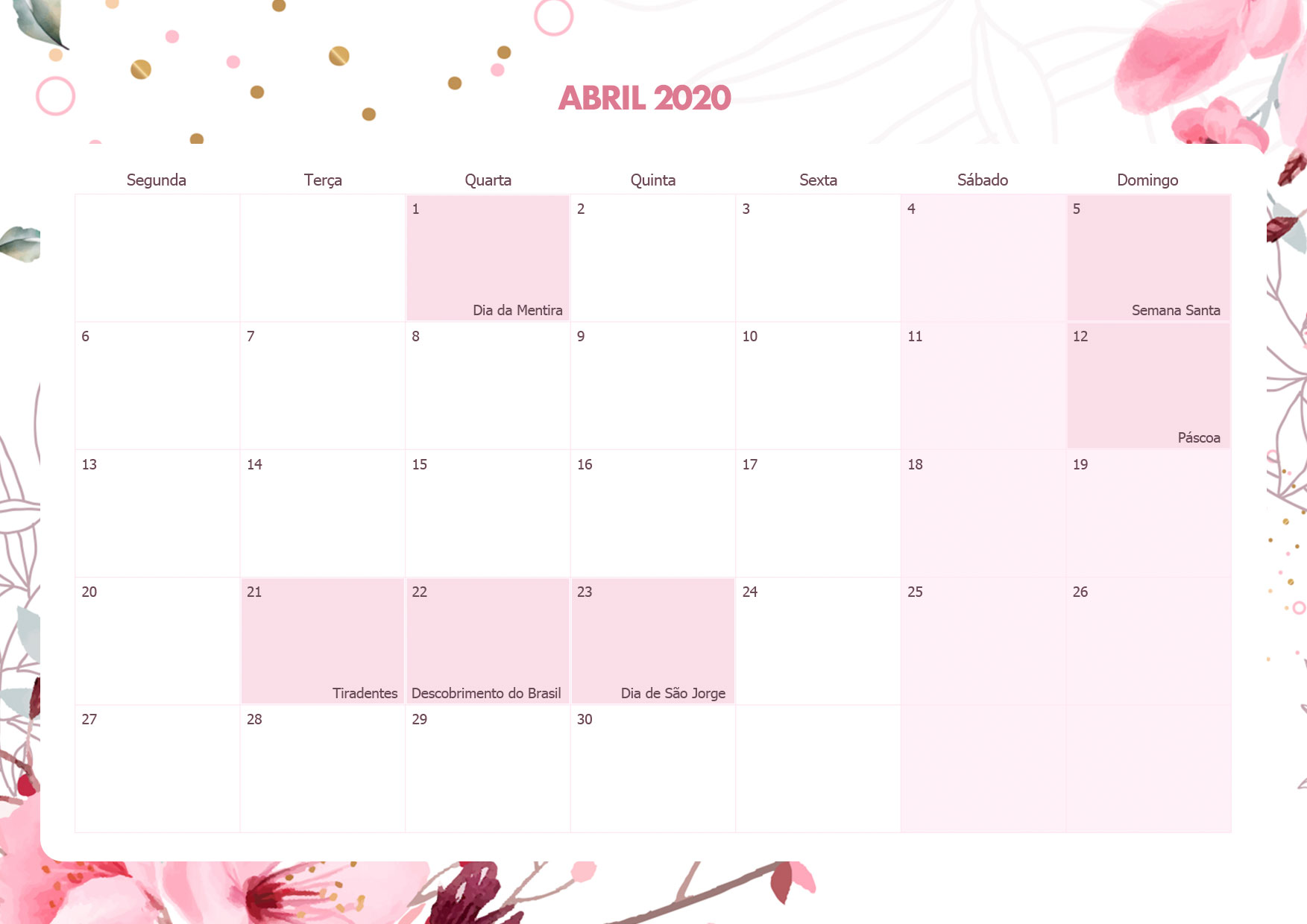 Calendario Mensal Floral Abril 2020