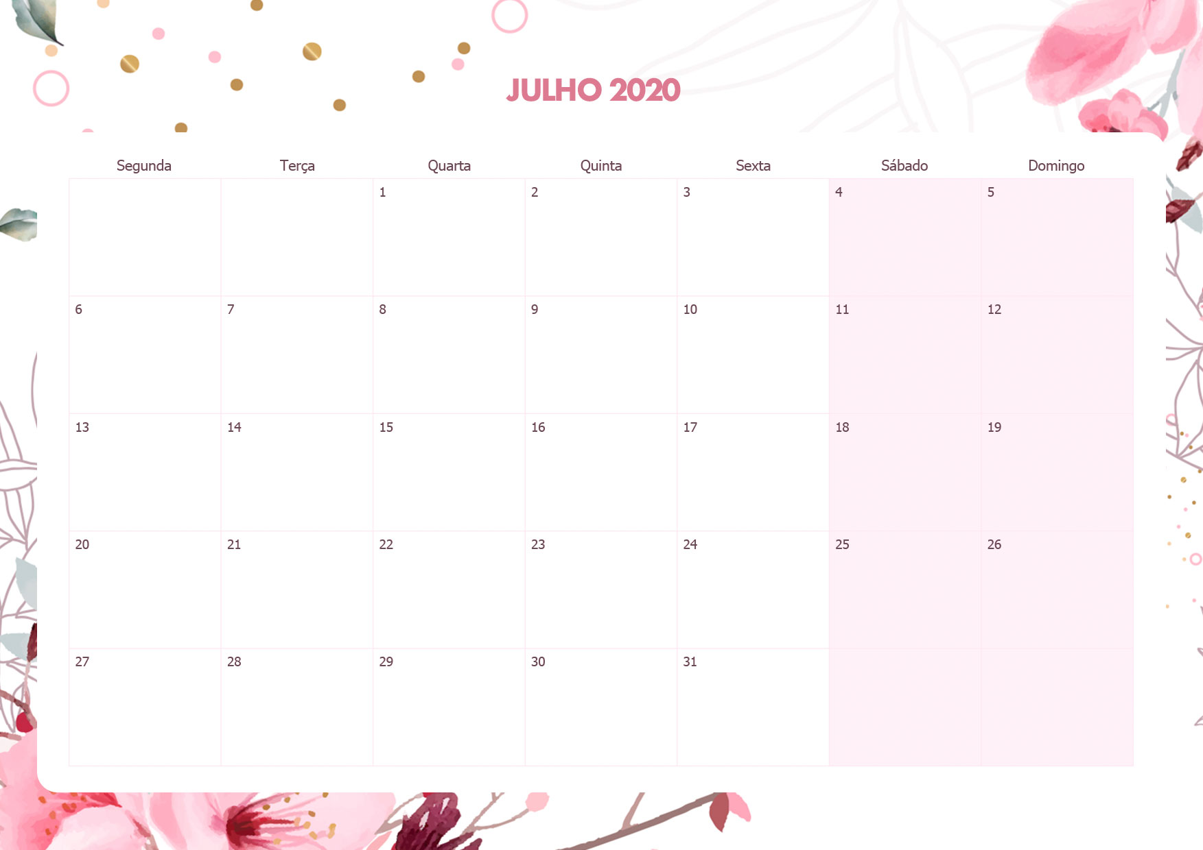 Calendario Mensal Floral Julho 2020