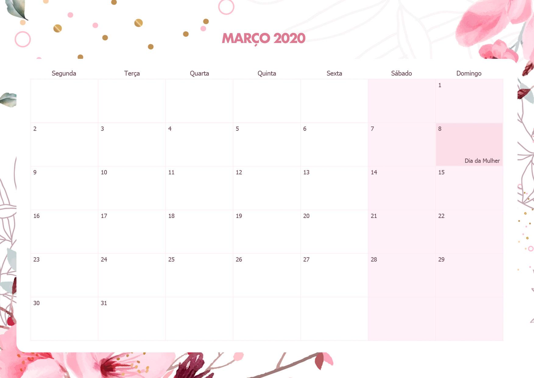 Calendario Mensal Floral Marco 2020