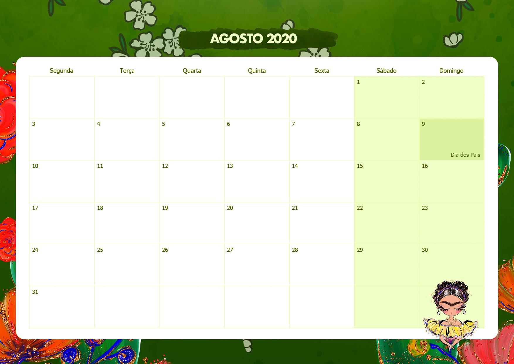 Calendario Mensal Frida Kahlo Agosto 2020