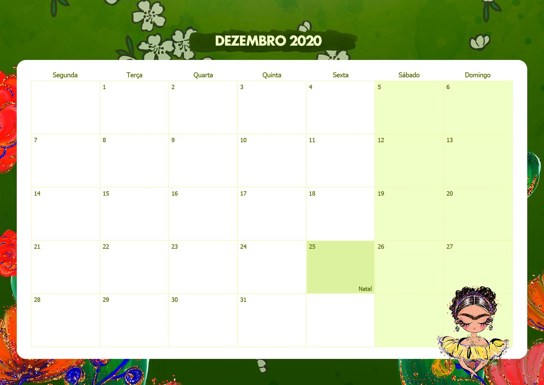 Calendario Mensal Frida Kahlo Dezembro 2020