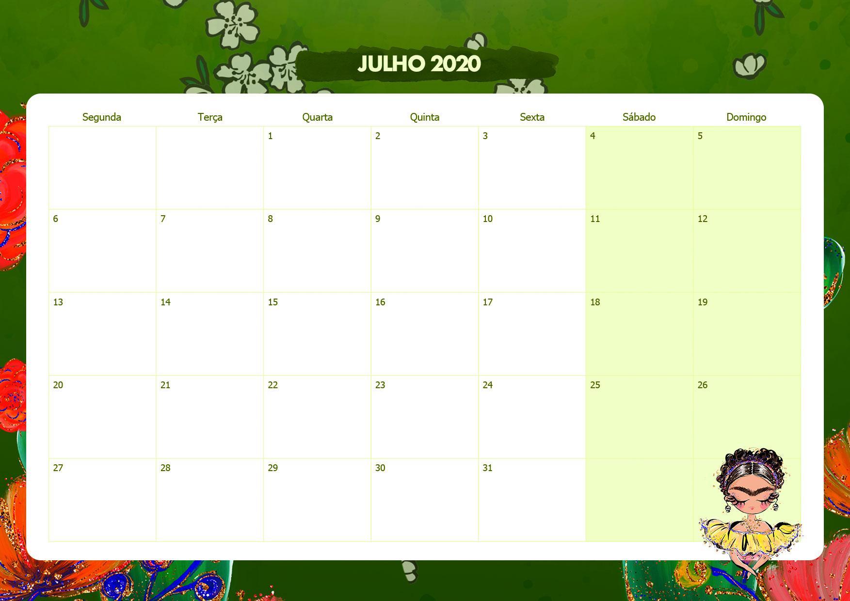 Calendario Mensal Frida Kahlo Julho 2020