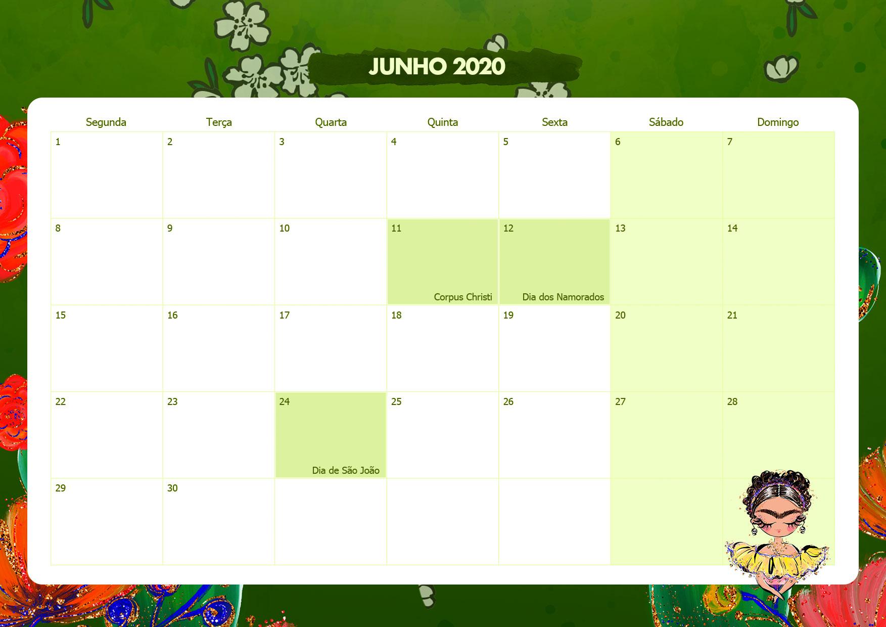 Calendario Mensal Frida Kahlo Junho 2020