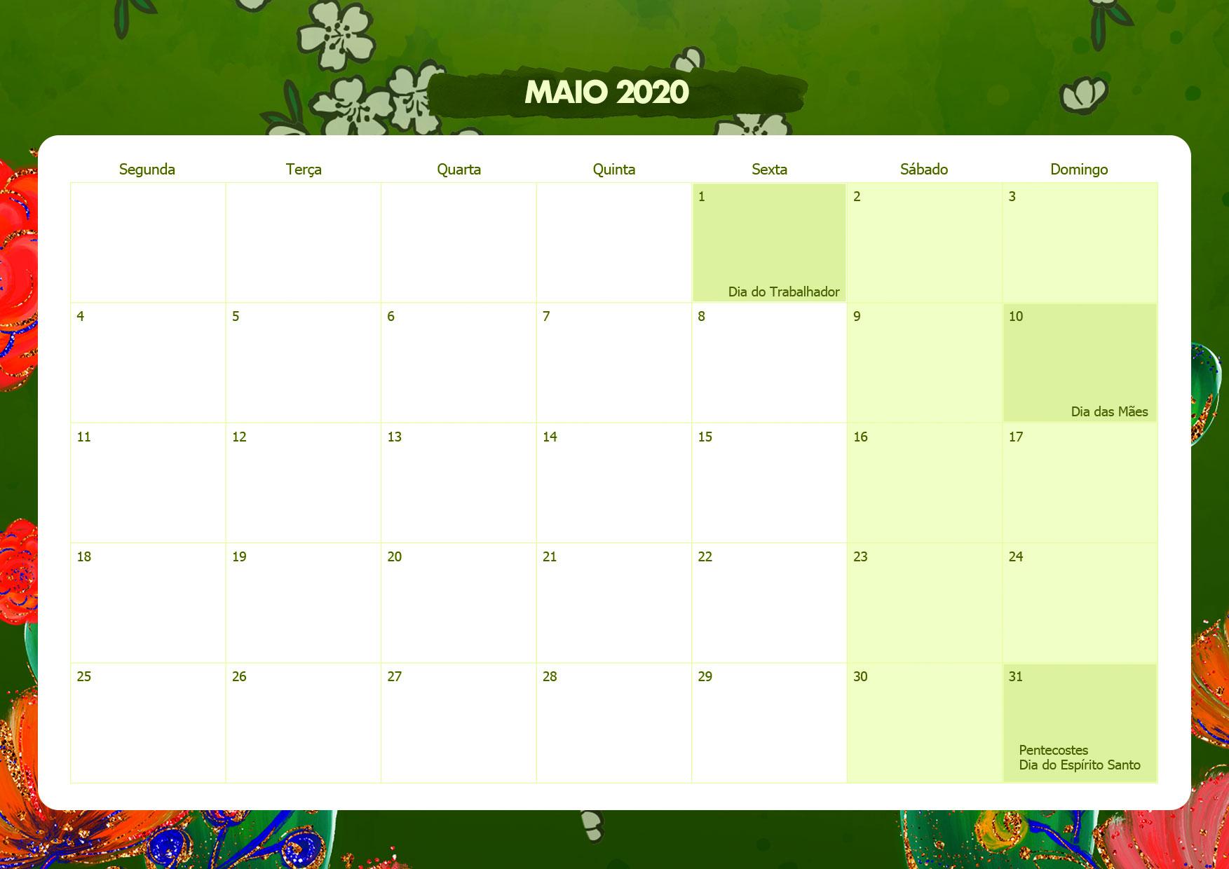 Calendario Mensal Frida Kahlo Maio 2020